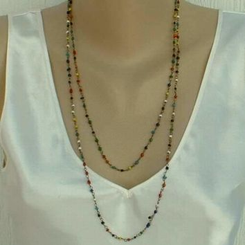 Delicate Long Muli-Color Seed Bead Necklace Antiqued Metal Vintage Jewelry