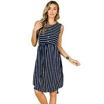 Sleeveless Button Detail Midi Dress Striped