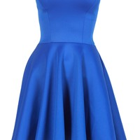 Royal Blue Boob Tube Flare Dress