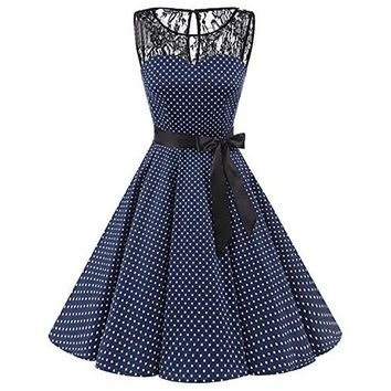 76416f45b21d Plus Size Summer Women Midi Dress 2018 Gothic Polka Dot Print Sleeveless Ladies  Lace Dresses Vintage