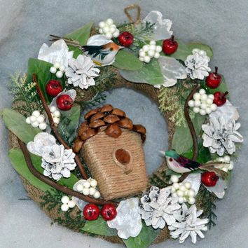Christmas Door Wreath with Birds house, Holiday Wreath, Christmas Decoration, Door Wreath