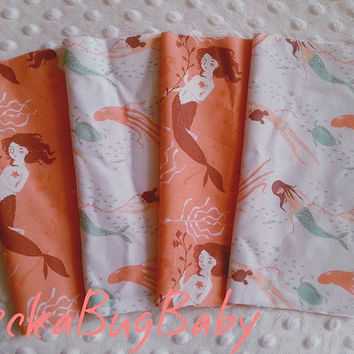 Coral and Mint, MERMAID Fabric, 8 inch Fabric Squares, DESTASH, Scraps