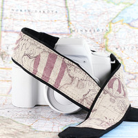 Hot Air Balloon Camera Strap, Dusty Lilac, dSLR, Nautical, Old World Map, Vintage map, Pocket, Canon camera strap, Nikon camera strap, 225 w