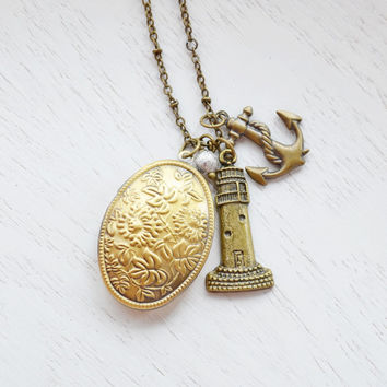 Lighthouse Locket Necklace,Welcome Home,Anchor,Beach Locket,Nautical,Coastal Necklace,Anchor Locket Necklace,Full Moon Back Home,Keepsake