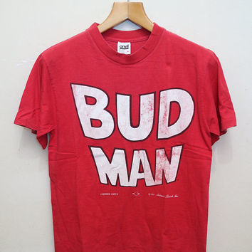 Vintage 1991 BUD MAN T Shirt Red Color Size M