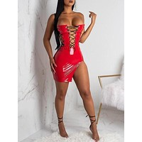 New Red Irregular Off Shoulder Slit Lace-up Patent Leather Latex Bodycon Clubwear Mini Dress