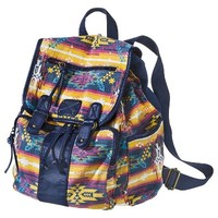 Geo Print Canvas Backpack - Blue