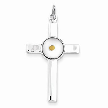 Sterling Silver Polished & Epoxy Cross with Mustard Seed Pendant