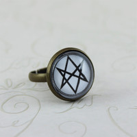 Men of Letters Symbol Ring, Supernatural Jewelry, Adjustable Ring, Antique Bronze, Vintage Style Ring, Fandom Jewelry, Winchesters