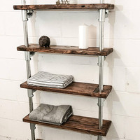 floor standing shelving unit , reclaimed wood shelves , industrial shelves , farmhouse , modern furniture , bathroom shelving , steam punk
