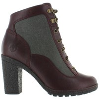 Timberland Amston - Burgundy/Green Leather/Canvas Lace Heel Boot