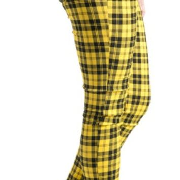 Yellow Tartan Skinny Jeans - Clothing