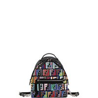 Fendi Santander Nylon Embroidered Backpack