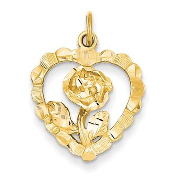 14k Rose in Heart Charm C323