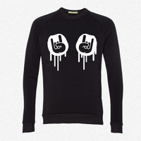 Metal Hands Rock Graffiti fleece crewneck sweatshirt