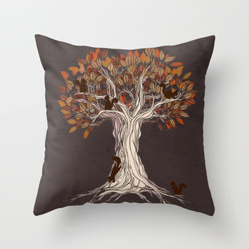 Little Visitors - Autumn tree illustration with squirrels Throw Pillow by micklyn