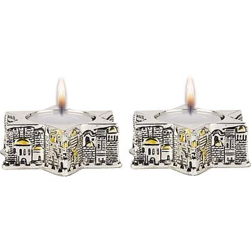 Candle Holders Jerusalem Star Silver 925 Electroforming