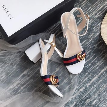Gucci GG Women White Leather With Thong Web Mid-heel Sandals - Best Deal Online