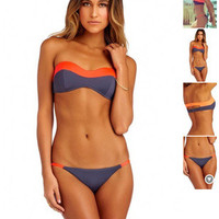 Women Sexy Mixed Color Two-Piece Erotic Bikini Swim Suit Beach Bathing Suits Swimwear _ 13025