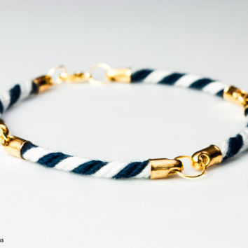 Four quarter nautical rope bracelet - White and navy