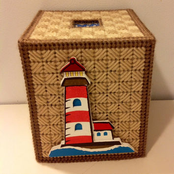 Lighthouse Tissue Box Cover, Nautical Room Decor, Boutique Tissue Box Cover, Lighthouse Box, Light House Decor, Get Well Gift, Nautical Box