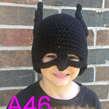 free shipping, 10pcs/lot baby crochet batman hat , 100% cotton NB-6years childrens hat, costume batman hat NB-6years