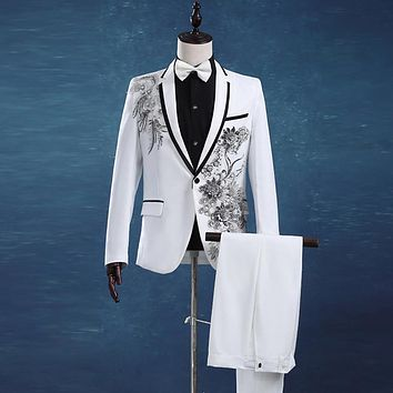 Wedding Groom Tuxedos Suit Men Fashion White Paillette Embroidered Male Singer Performance Party Prom Blazer Suit (Jacket+Pants)