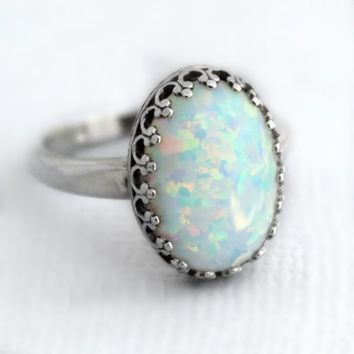 Sterling Silver White Opal Ring, Large Oval Lab-Created Opal Ring, Sterling Silver October Birthstone Ring, White Opal Jewelry, Gift For Her