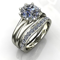Forever Brilliant Moissanite and Diamond Engagement Ring and Band 3 CTW