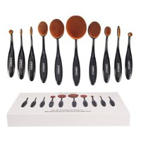 Unimeix Professional 10 Pcs Soft Oval Toothbrush Makeup Brush Sets Foundation Brushes Cream...