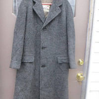 Vintage 50s  STRATBURY authentic  Alpagora  grey  Wool Mens Overcoat Trench Coat sz  med / large