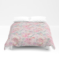 floral blush Duvet Cover by sylviacookphotography