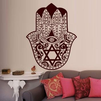 Wall Decal Vinyl Sticker Decals Art Decor Design Hamsa Hand Eye Indian Yoga Buddha Ganesh Fatima Star India Chakra Anahata Namaste (M1328)