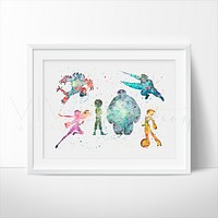 Big Hero 6 Watercolor Art Print