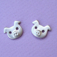 Pig Earrings Studs sterling silver Christmas Gift Jewelry Girl Women Kids Teen cute sweet Small mom