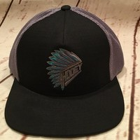 "HOOey ""Quannah"" Black/Grey Headdress Logo Trucker Cap 1722T-BKGY"