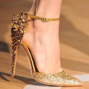 Luxury Rhinestone Back Point Toe Pumps Ankle Buckles Gold Glitter High Heels Shoes