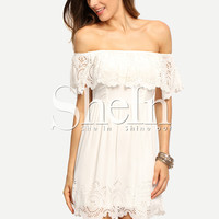 Beige Off The Shoulder Ruffle Hollow Dress -SheIn(Sheinside)