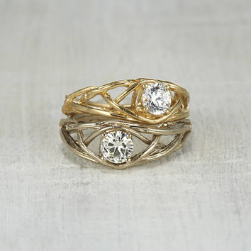 Braided Twig Engagement Ring - White Sapphire Celtic Knot Engagement Ring in Rose Gold, White Gold, Yellow Gold or Platinum