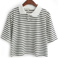 Striped Cropped Polo