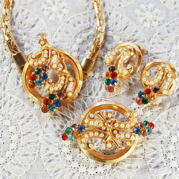 Vintage Flower Circle Jewelry Set, Necklace, Brooch, Earrings, Colorful Rhinestone, Seed Pearl, 24K Gold Plate, OLEG CASSINI, 1950s Jewelry