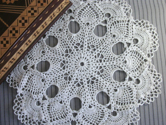 White pineapple doily 12 inches Crochet from ...