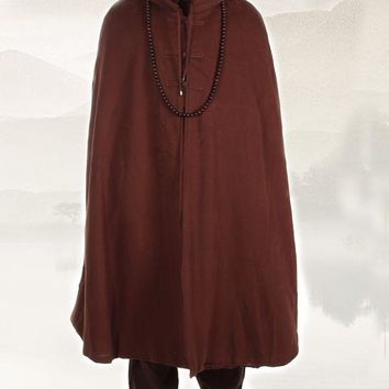 WARM meditation cloak velvet Buddhist religious Buddhism mantle Capes monks robes coat winter martial arts clothes brown