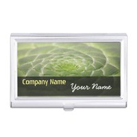 Green Leaves Aeonium Tabuliforme Business Card Case For Business Cards
