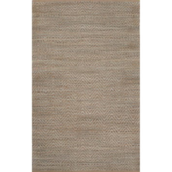 Naturals Chevrons Pattern Blue Jute and Rayon Area Rug (2.6x4)