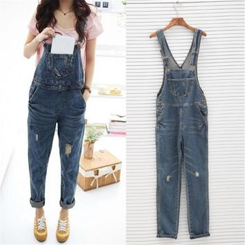 Women Ladies Baggy Denim Jeans Full Length Pinafore Dungaree Overall Jumpsuit Button Spaghetti Strap Romper