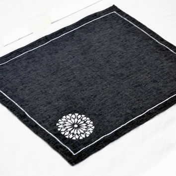 Place mats in navy blue in white embroidered medallion -Linen blend table mats -linen Gift set -Christmas place mats -thanksgiving table