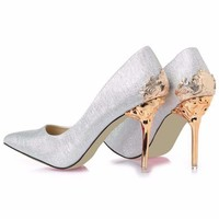 Classy Suede Flower Metal Women High Heels Stiletto Shoes