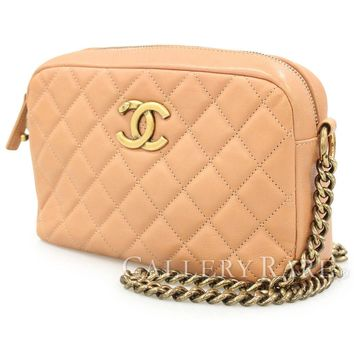 CHANEL Chain Shoulder Bag Matelasse Calf Beige Pink CC Italy Authentic 4442776
