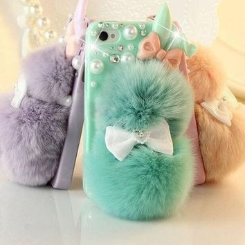 # 1 Best Seller Chic Rabbit Fur Multicolor Bunny Case For Teen Girlsrhinestone Hard Case Cover For Iphone 6 6 Plus Iphone 5c 5s 4s Galaxy S4 S3 Note 3 Note 4 = 1932244932